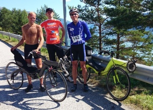 Historic victory M5 recumbent in mountain stage Viking Tour Norway amongst 300 road bikes